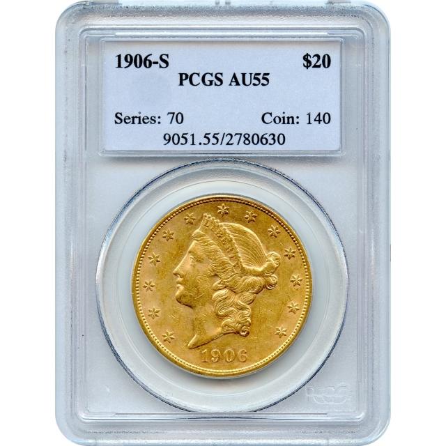"1906-S $20 Liberty Head Double Eagle PCGS AU55 ""1906 Earthquake Survivor"""