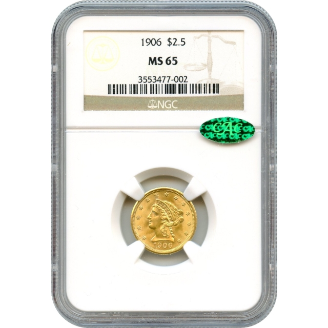 1906 $2.50 Liberty Head Quarter Eagle NGC MS65 (CAC)