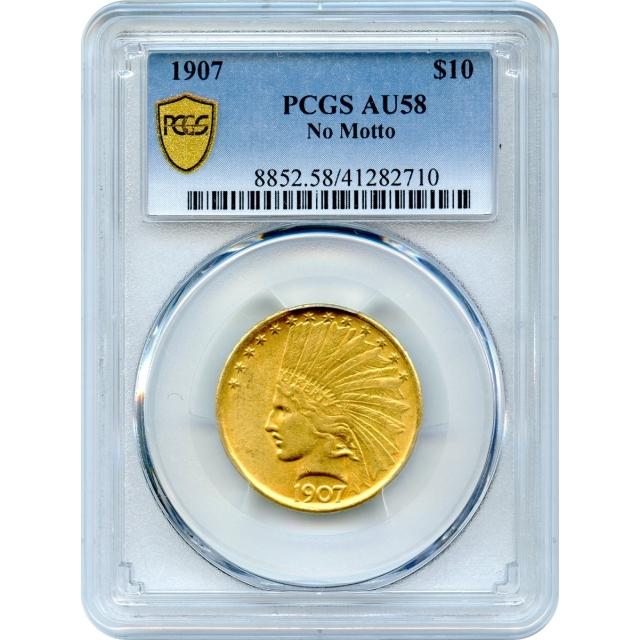 1907 $10 Indian Head Eagle, No Motto PCGS AU58