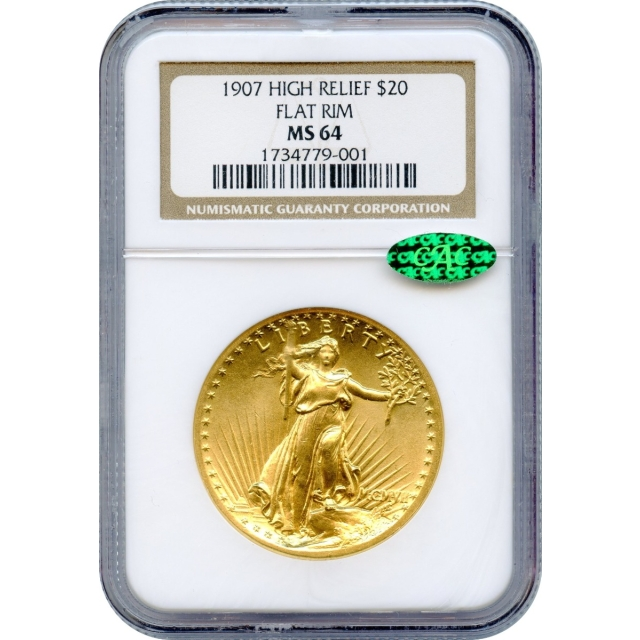1907 $20 Saint Gaudens Double Eagle, High Relief Flat Rim NGC MS64 (CAC)