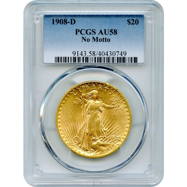 1908-D $20 Saint Gaudens Double Eagle, No Motto PCGS AU58