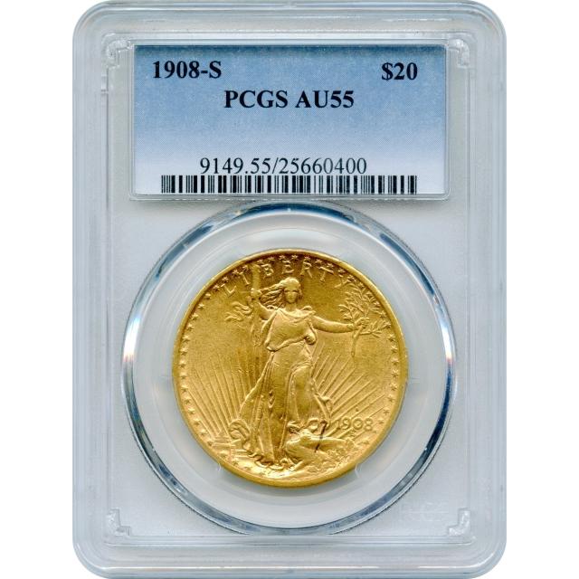 1908-S $20 Saint Gaudens Double Eagle PCGS AU55