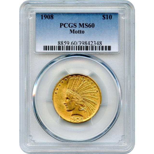 1908 $10 Indian Head Eagle, with Motto PCGS MS60