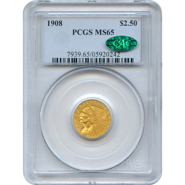 1908 $2.50 Indian Head Quarter Eagle PCGS MS65 (CAC)