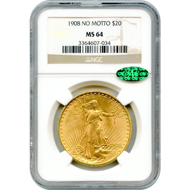 1908 $20 Saint Gaudens Double Eagle, No Motto NGC MS64 (CAC)