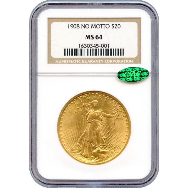 1908 $20 Saint-Gaudens Double Eagle, No Motto MS64 (CAC)