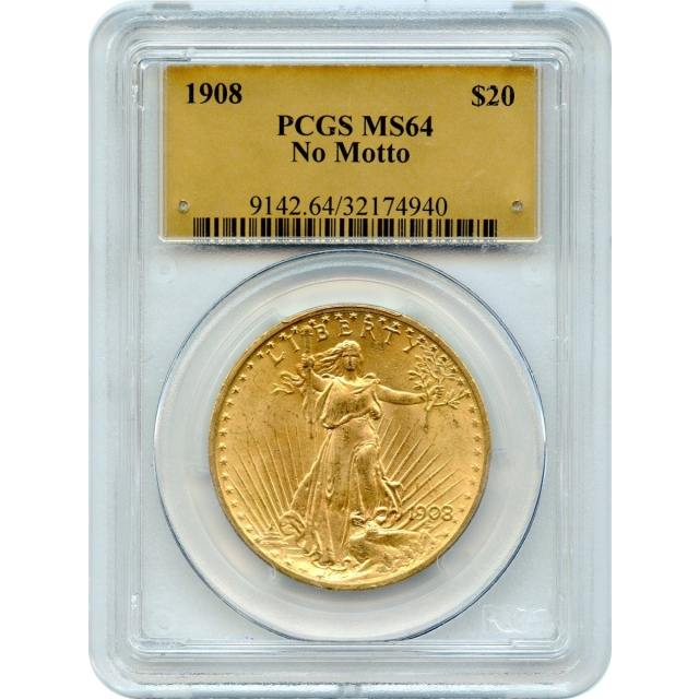 1908 $20 Saint Gaudens Double Eagle, No Motto PCGS MS64 (Gold Label)