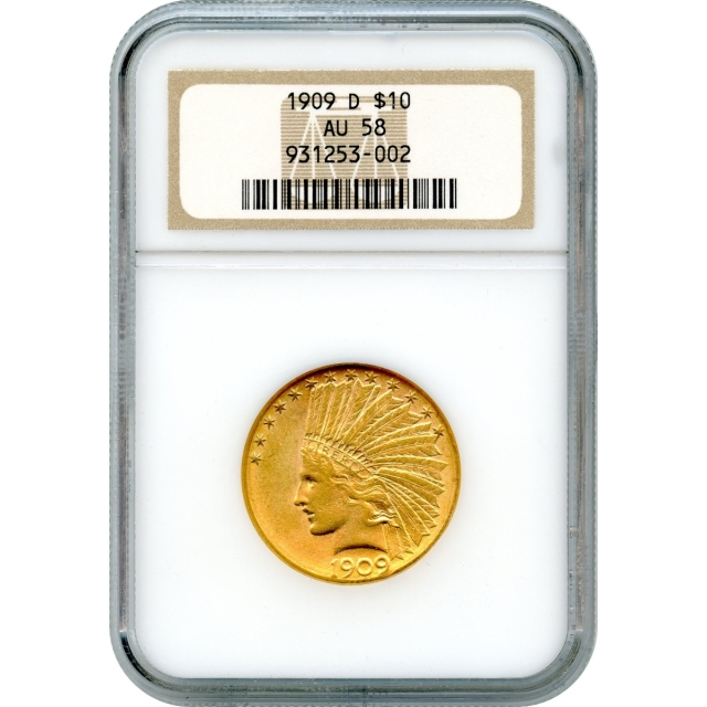1909-D $10 Indian Head Eagle NGC AU58