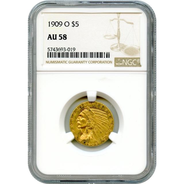1909-O $5 Indian Head Half Eagle NGC AU58