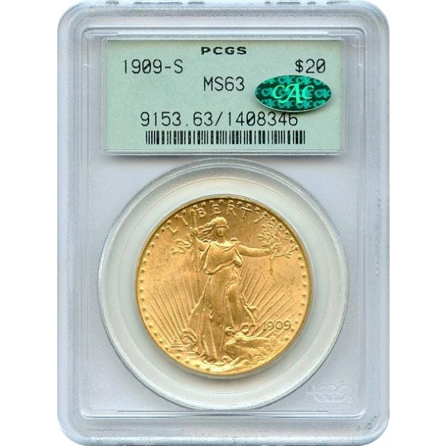 1909-S $20 Saint Gaudens Double Eagle PCGS MS63 (CAC)