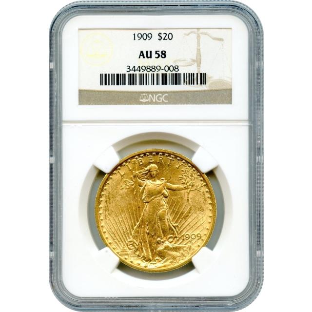 1909 $20 Saint Gaudens Double Eagle NGC AU58