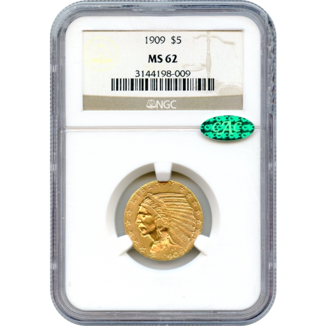 """1909 $5 Indian Head Half Eagle NGC MS62 (CAC) """"Great Gold Type Coin"""""""