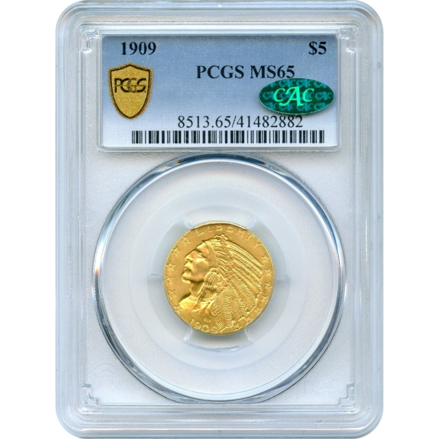 1909 $5 Indian Head Half Eagle PCGS MS65 (CAC)