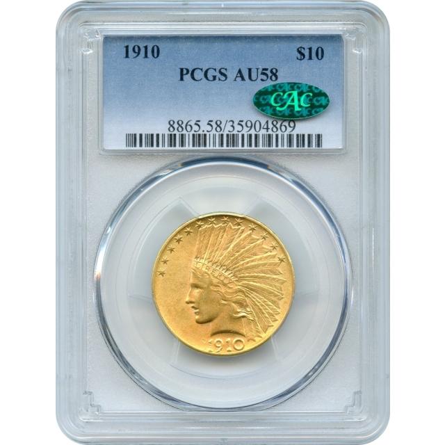 1910 $10 Indian Head Eagle PCGS AU58 (CAC)