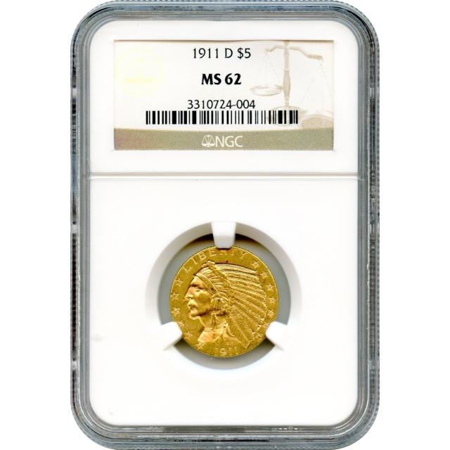 1911-D $5 Indian Head Half Eagle NGC MS62