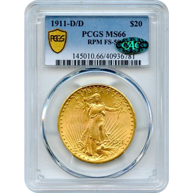 1911-D/D $20 Saint Gaudens Double Eagle, RPM FS-501 PCGS MS66 (CAC)