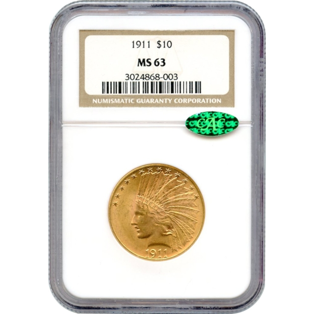 1911 $10 Indian Head Eagle NGC MS63 (CAC)