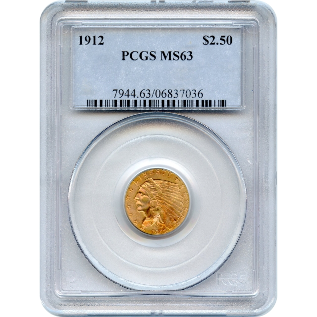 """1912 $2.50 Indian Head Quarter Eagle PCGS MS63 """"Great Type Coin!"""""""