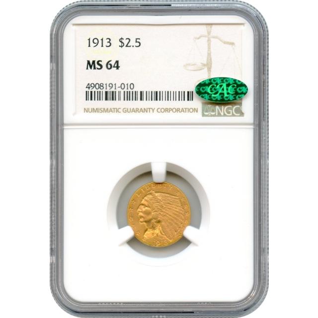 1913 $2.50 Indian Head Quarter Eagle NGC MS64 (CAC)