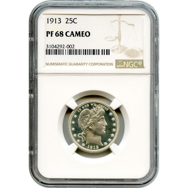 1913 25C Barber Quarter NGC PR68 Cameo - Finest Known in Cameo!