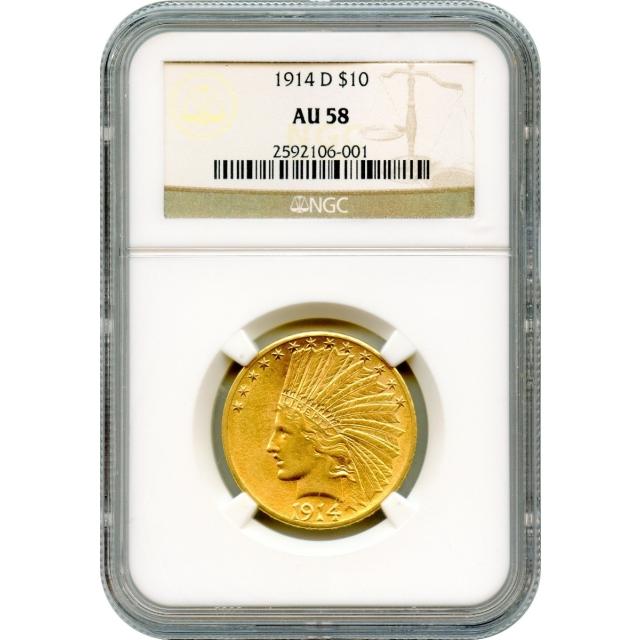 1914-D $10 Indian Head Eagle NGC AU58
