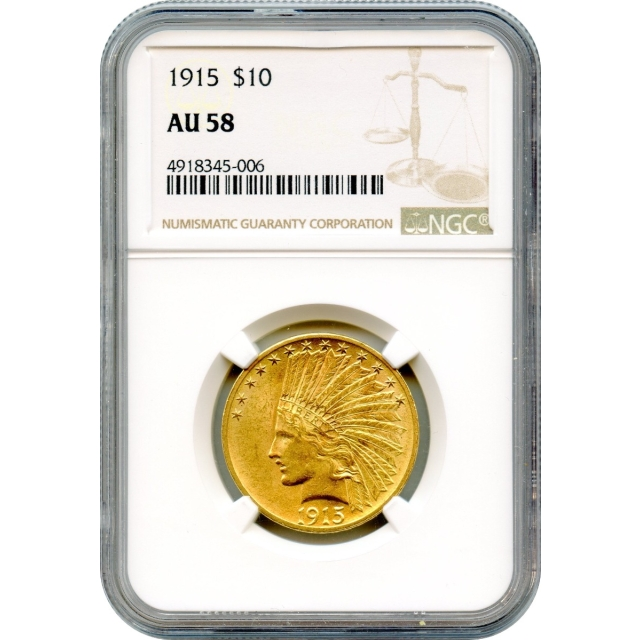 1915 $10 Indian Head Eagle NGC AU58