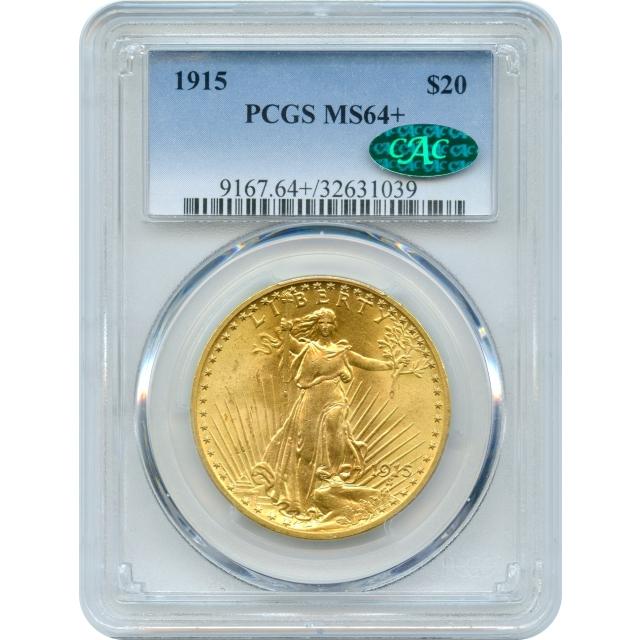 1915 $20 Saint Gaudens Double Eagle PCGS MS64+ (CAC)