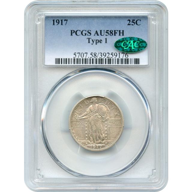 "1917 25C Standing Liberty Quarter, Type 1 PCGS AU58FH (CAC) - great ""Everyman Set"" coin"