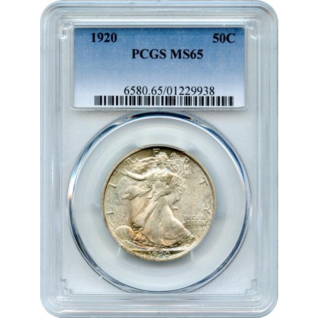 1920 50C Walking Liberty Half Dollar PCGS MS65 - color!