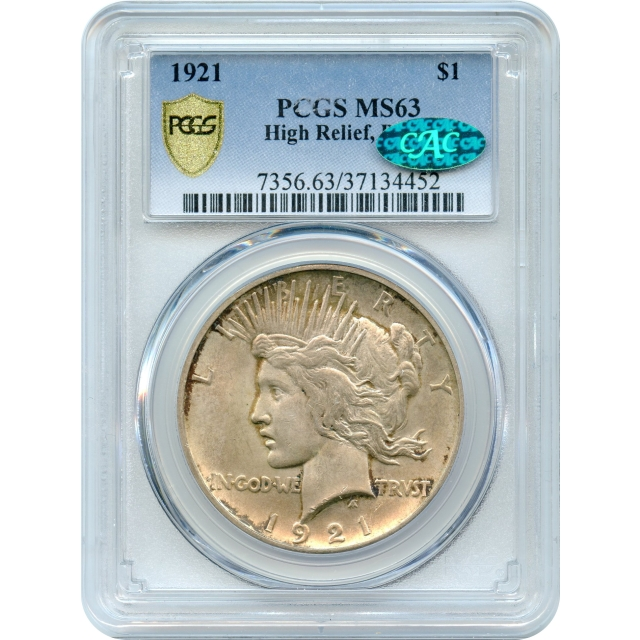 """1921 $1 Peace Silver Dollar """"High Relief"""" PCGS MS63 (CAC) """"One Year Type Coin"""""""