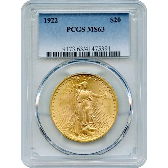1922 $20 Saint Gaudens Double Eagle PCGS MS63