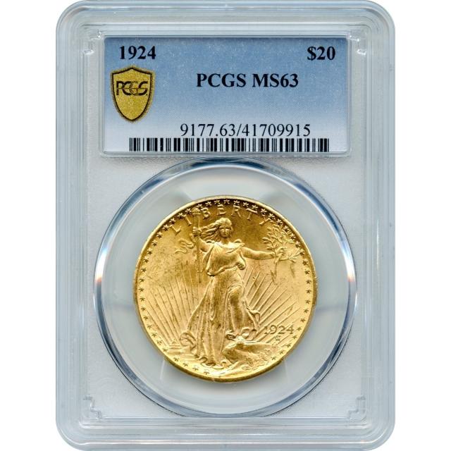 1924 $20 Saint Gaudens Double Eagle PCGS MS63