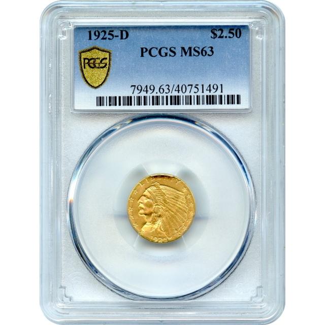 1925-D $2.50 Indian Head Quarter Eagle PCGS MS63