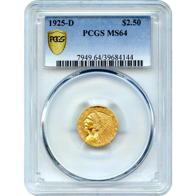 1925-D $2.50 Indian Head Quarter Eagle PCGS MS64