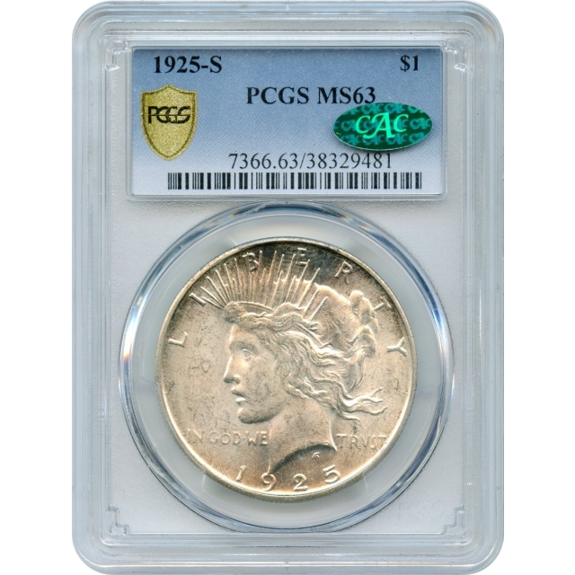 1925-S $1 Peace Silver Dollar PCGS MS63 (CAC)