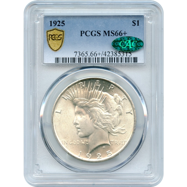 """1925 $1 Peace Silver Dollar PCGS MS66+ (CAC) """"Great Type Coin"""" and """"Condition Rarity"""""""