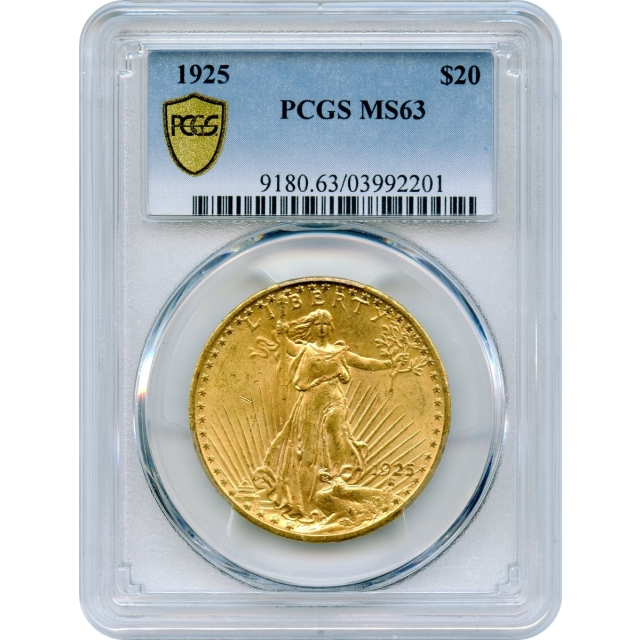 1925 $20 Saint Gaudens Double Eagle PCGS MS63
