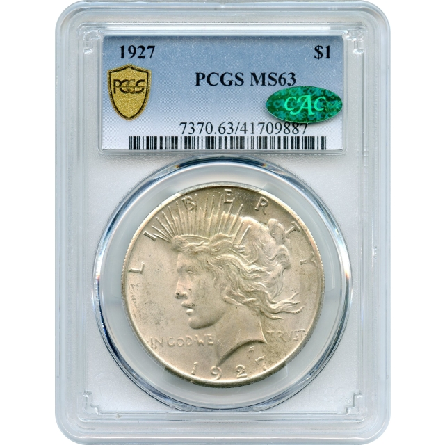 1927 $1 Peace Dollar PCGS MS63 (CAC)