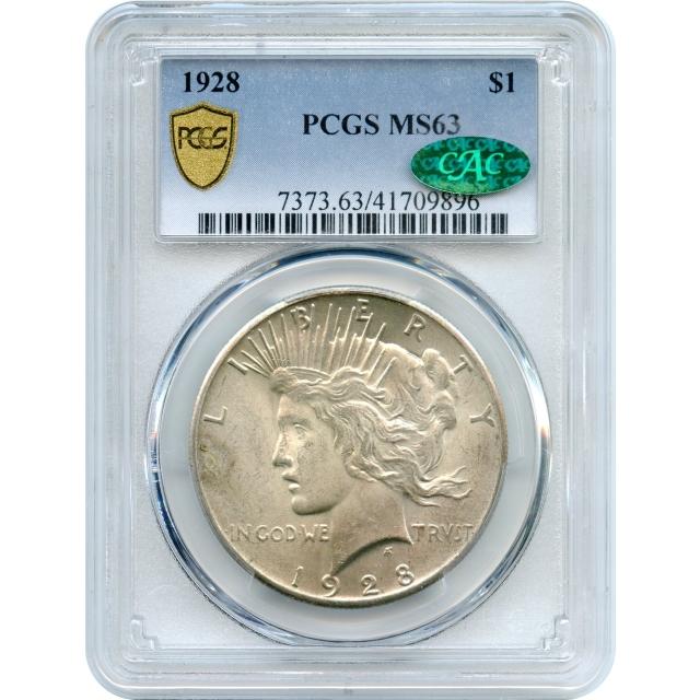 1928 $1 Peace Dollar PCGS MS63 (CAC)
