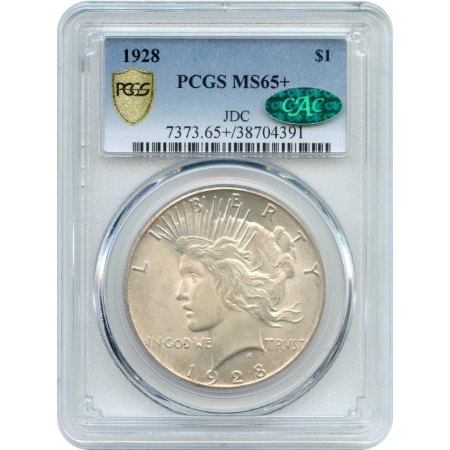 1928 $1 Peace Dollar PCGS MS65+ (CAC)