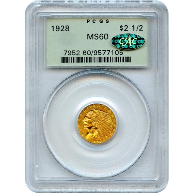 1928 $2.50 Indian Head Quarter Eagle PCGS MS60 (GOLD CAC)