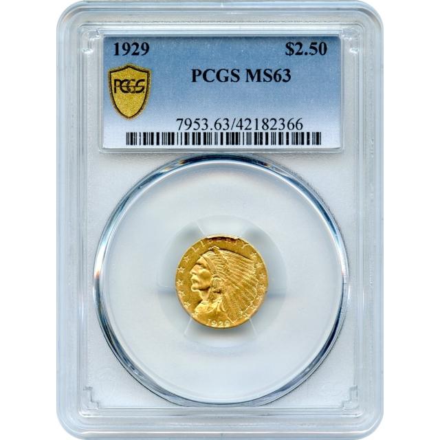 1929 $2.50 Indian Head Quarter Eagle PCGS MS63