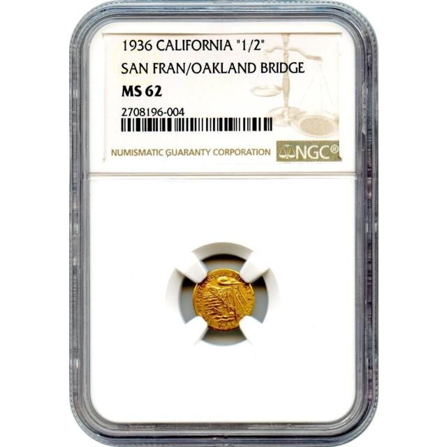 """Token - 1936 California """"1/2"""" San Francisco / Oakland Bridge Gold Charm NGC MS62"""