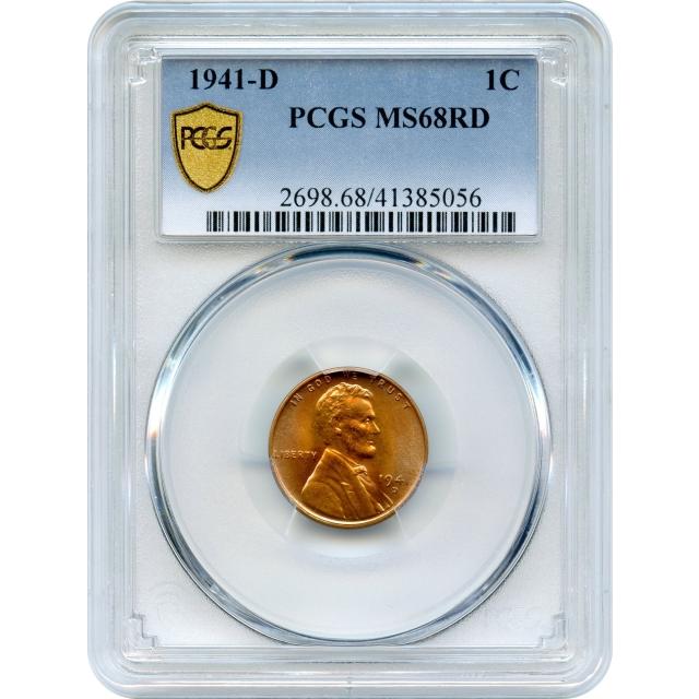 1941-D 1C Lincoln Head Cent PCGS MS68RD - FINEST PCGS (Pop 1/0)