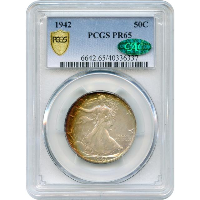 1942 50C Walking Liberty Half Dollar PCGS PR65 (CAC)