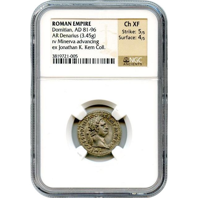 Ancient Rome - 81-96 CE Domitian AR Denarius NGC Choice XF Ex.Kern Collection