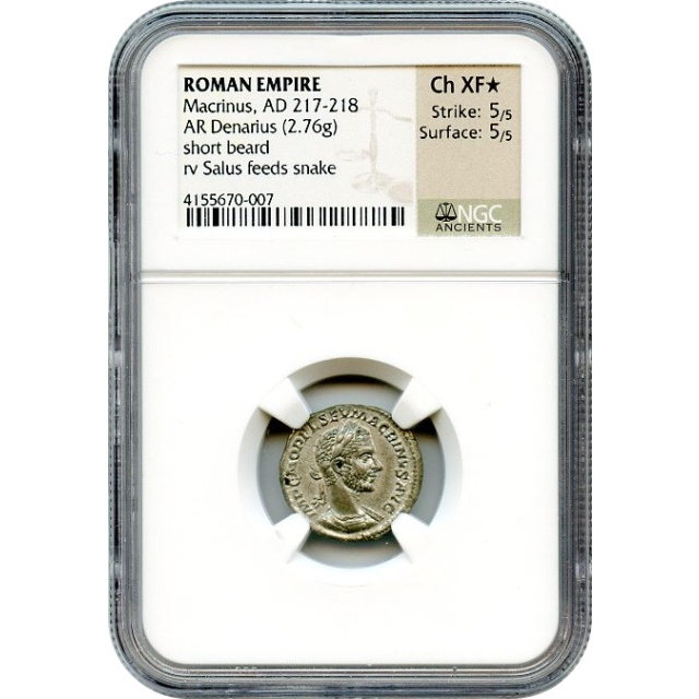 Ancient Rome - AD 217-218 Macrinus AR Denarius NGC Choice XF(*)