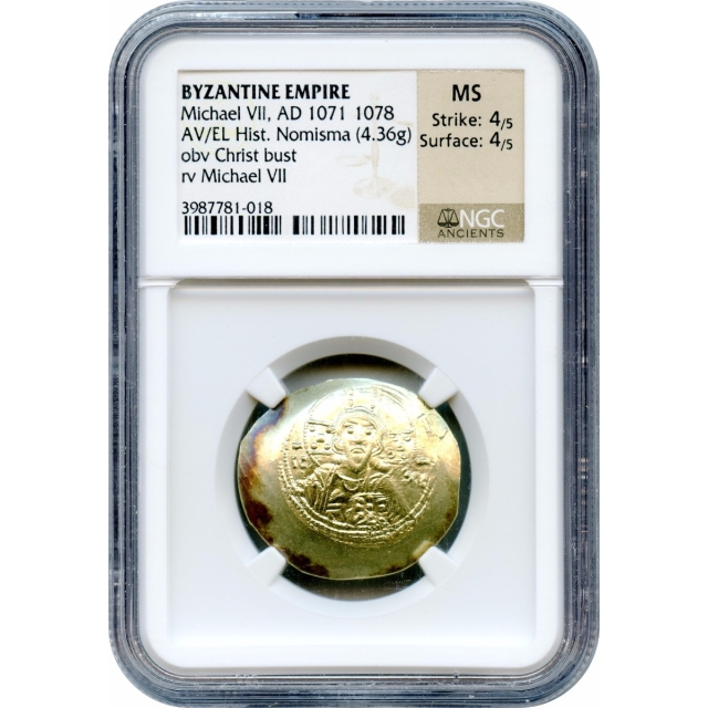 Byzantine Empire -1071-1078 AD Michael VII AV/EL Histamenon Nomisma NGC MS