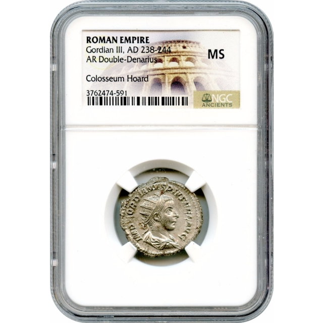 Ancient Rome - 238-244 AD Gordian III AR Double-Denarius NGC MS