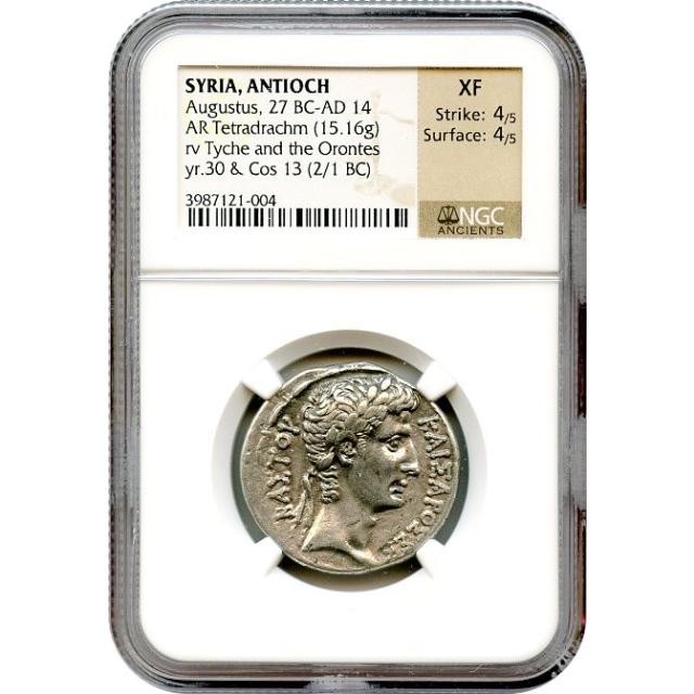 Ancient Rome - 05 BCE Augustus AR Tetradrachm of Antioch, Syria NGC XF